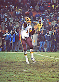 Washington Redskins quarterback Jay Schroeder (10) releases a pass in game action against the San Francisco Forty-Niners at RFK Stadium in Washington, D.C. on Sunday, December 1, 1985.  The Forty-Niners won the game 35 - 8.<br /> Credit: Arnie Sachs / CNP