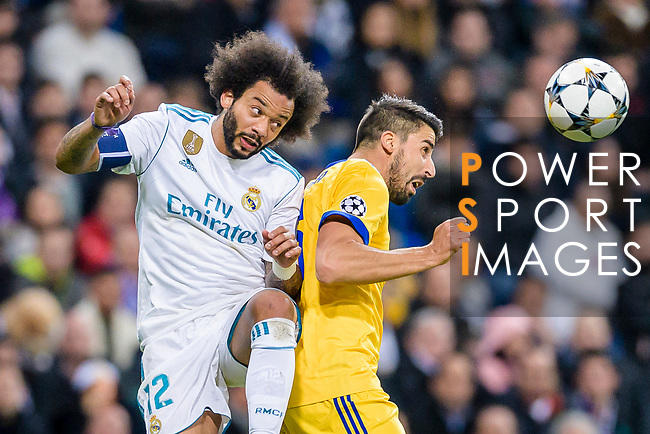 Marcelo Vieira Da Silva of Real Madrid (L) fights for the ball with Sami Khedira of Juventus (R) in action during the UEFA Champions League 2017-18 quarter-finals (2nd leg) match between Real Madrid and Juventus at Estadio Santiago Bernabeu on 11 April 2018 in Madrid, Spain. Photo by Diego Souto / Power Sport Images