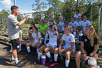 Sanford, FL - Saturday Oct. 14, 2017:  Pride players listen to instructions during half-time of a US Soccer Girls' Development Academy match between Orlando Pride and NC Courage at Seminole Soccer Complex. The Courage defeated the Pride 3-1.