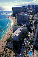 View of Waikiki from above, looking West down Kalakaua Avenue