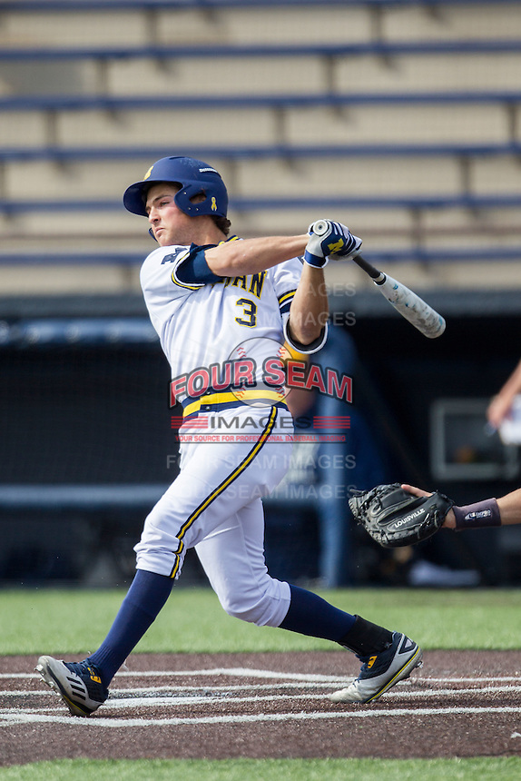 Michigan Wolverines outfielder Cody Bruder (3) follows through on his swing against the Toledo Rockets on April 20, 2016 at Ray Fisher Stadium in Ann Arbor, Michigan. Michigan defeated Bowling Green 2-1. (Andrew Woolley/Four Seam Images)
