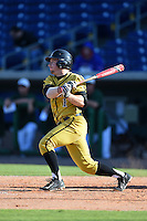 Alabama State Hornets shortstop PJ Biocic (1) at bat during a game against the USF Bulls on February 15, 2015 at Bright House Field in Clearwater, Florida.  USF defeated Alabama State 12-4.  (Mike Janes/Four Seam Images)