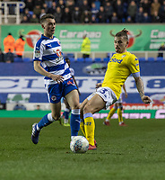 Leeds United's Kalvin Phillips (right) vies for possession with Reading's Ryan East (left) <br /> <br /> Photographer David Horton/CameraSport<br /> <br /> The EFL Sky Bet Championship - Reading v Leeds United - Tuesday 12th March 2019 - Madejski Stadium - Reading<br /> <br /> World Copyright © 2019 CameraSport. All rights reserved. 43 Linden Ave. Countesthorpe. Leicester. England. LE8 5PG - Tel: +44 (0) 116 277 4147 - admin@camerasport.com - www.camerasport.com