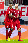 17.03.2019, Allianz Arena, Muenchen, GER, 1.FBL,  FC Bayern Muenchen vs. Mainz 05, DFL regulations prohibit any use of photographs as image sequences and/or quasi-video, im Bild Jubel nach dem Tor zum 2-0 durch James Rodriguez (FCB #11) mit David Alaba (FCB #27) <br /> <br />  Foto &copy; nordphoto / Straubmeier