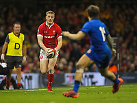 1st February 2020; Millennium Stadium, Cardiff, Glamorgan, Wales; International Rugby, Six Nations Rugby, Wales versus Italy; Johnny McNicholl of Wales launches another attack