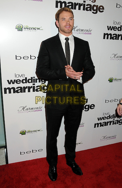 "KELLAN LUTZ.Premiere of ""Love, Wedding, Marriage"" held at The Pacific Design Center in Beverly Hills, California, USA..May 17th, 2011.full length tie shirt suit black white facial hair stubble beard.CAP/ADM/BP.©Byron Purvis/AdMedia/Capital Pictures."