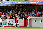 Tamworth 0 Crawley Town 0, 30/04/2006. The Lamb, Football Conference. Tamworth (red shirts) take on Crawley Town in a Nationwide Conference match at The Lamb, Tamworth. It was the last game of the season and only a win would guarantee the Lambs' survival. The match ended 0-0 but relegation was not decided due to an appeal by Altringham to have points deducted reinstated.<br />   Photo by Colin McPherson.