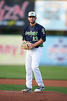Vermont Lake Monsters pitcher Bubba Derby (11) gets ready to deliver a pitch during a game against the Hudson Valley Renegades on September 3, 2015 at Centennial Field in Burlington, Vermont.  Vermont defeated Hudson Valley 4-1.  (Mike Janes/Four Seam Images)