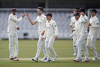 The Lancashire players celebrate the wicket of Sam Robson during Middlesex CCC vs Lancashire CCC, Specsavers County Championship Division 2 Cricket at Lord's Cricket Ground on 11th April 2019