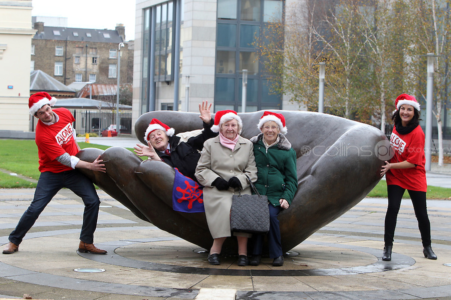 NO FEE PICTURES.30/11/11 Fair City Stars Ciara O'Callaghan (Yvonne Doyle) and Sam O'Mahony (Finn McGrath) with Reg Lacey, Maureen Nulty and Florrie Biggs who use ALONE, at the launch of ALONE Christmas Campaign in Dublin. Pictures:Arthur Carron/Collins