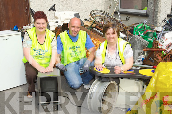 Kingdom Care workers Triona Houlihan, Peter Donovan, Mary Corridan who ran a recycling station at the Kingdom mart on Saturday it will be on next Saturday aslo and they will take Scrap metal, clothes, biscuit tins, cookware, shoes, metal, bags and belts.