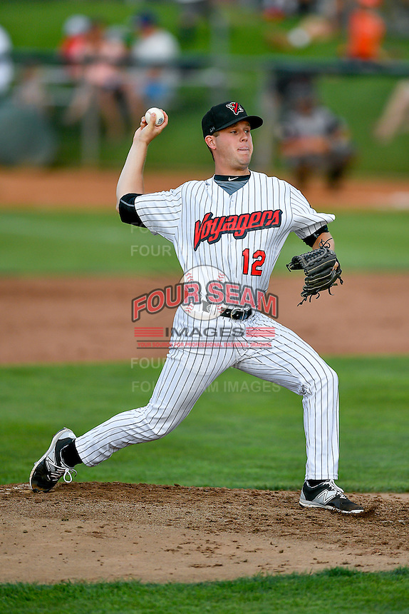 Pioneer League All-Star Aron McRee (12) of the Great Falls Voyagers delivers a pitch to the plate against the Northwest League All-Stars at the 2nd Annual Northwest League-Pioneer League All-Star Game at Lindquist Field on August 2, 2016 in Ogden, Utah. The Northwest League defeated the Pioneer League 11-5. (Stephen Smith/Four Seam Images)