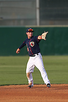Alex Bregman (6) of the Lancaster JetHawks, the second player overall to be chosen in the 2015 MLB draft, throws between innings of  a game against the Bakersfield Blaze at The Hanger on August 5, 2015 in Lancaster, California. Bakersfield defeated Lancaster, 12-5. (Larry Goren/Four Seam Images)