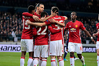 BRUSSELS , BELGIUM - APRIL 13 : Henrikh Mkhitaryan of Manchester United celebrates scoring the opening goal pictured with Zlatan Ibrahimovic of Manchester United during  UEFA Europa League quarter final first leg match between Rsc Anderlecht and Manchester United in Brussels, Belgium 13/04/2017. <br /> Bruxelles 13-04-2016 <br /> Anderlecht - Manchester United Europa League <br /> Foto Panoramic / Insidefoto <br /> ITALY ONLY