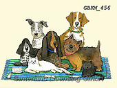 Kate, CUTE ANIMALS, LUSTIGE TIERE, ANIMALITOS DIVERTIDOS, paintings+++++Cat-dog group on rug 2.,GBKM456,#ac#, EVERYDAY ,dog,dogs