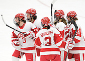 Kaleigh Fratkin (BU - 13), Louise Warren (BU - 28), Kasey Boucher (BU - 3), Jill Cardella (BU - 22), Taylor Holze (BU - 24) - The Boston University Terriers defeated the Harvard University Crimson 5-2 on Monday, January 31, 2012, in the opening round of the 2012 Women's Beanpot at Walter Brown Arena in Boston, Massachusetts.