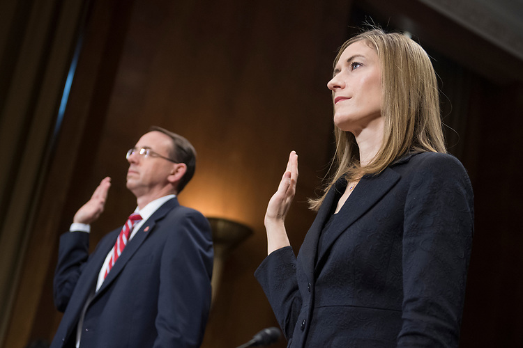 UNITED STATES - MARCH 7: Rod Rosenstein, nominee for deputy attorney general, and Rachel Brand, nominee for associate attorney general, are sworn in during their Senate Judiciary Committee confirmation hearing in Dirksen Building, March 7, 2017. (Photo By Tom Williams/CQ Roll Call)