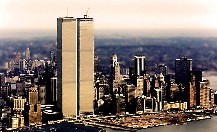 Twin Towers under construction in Lower Manhattan.