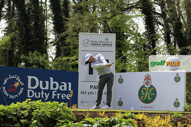 Lucas Bjerregaard (DEN) on the 17th tee during Tuesday's Practice round of the Dubai Duty Free Irish Open Trophy at The K Club, Straffan, Co. Kildare<br /> Picture: Golffile | Thos Caffrey<br /> <br /> All photo usage must carry mandatory copyright credit <br /> (&copy; Golffile | Thos Caffrey)