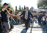California head coach Sonny Dykes shake hands with the fans before the game against Northwestern at Memorial Stadium in Berkeley, California on August 31st, 2013.  Northwestern defeated CAL, 44-30.