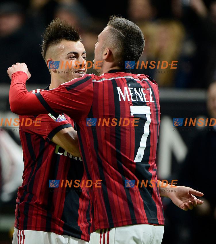 Esultanza gol di Jeremy Menez Milan con Stephan El Shaarawy 1-0. Celebration goal<br /> Milano 23-11-2014 Stadio Giuseppe Meazza - Football Calcio Serie A Milan - Inter. Foto Giuseppe Celeste / Insidefoto