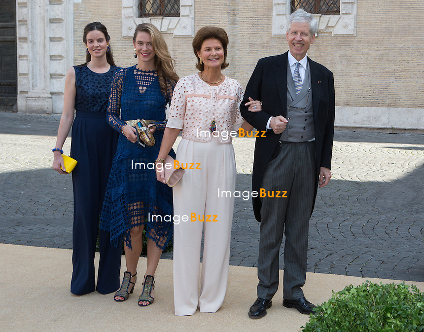 Prince Nicolas et  Princesse Margaretha du Liechtenstein - Mariage du Prince Amedeo de Belgique et de Elisabetta Maria Rosboch von Wolkenstein, &agrave; la basilique de Santa Maria in Trastevere, &agrave; Rome.<br /> Italie, Rome, 5 juillet 2014.<br /> Prince Nicolas and Princess Margaretha of Liechtenstein - Wedding of HRH Prince Amedeo of Belgium and Elisabetta Maria Rosboch von Wolkenstein, at the basilic of Santa Maria in Trastevere, in Rome.<br /> Italy, Rome, July 5, 2014.