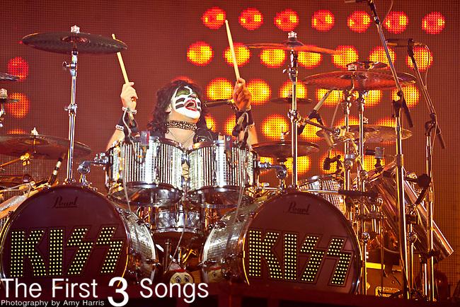 Eric Singer of Kiss performs at Riverbend Music Center in Cincinnati, Ohio.