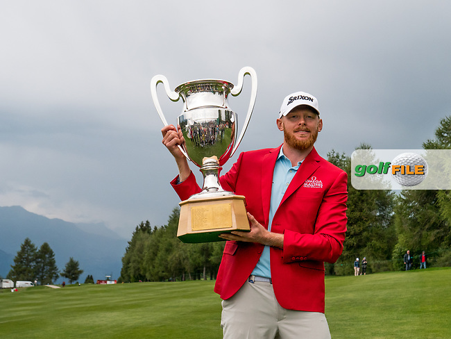 Sebastian Soderberg (SWE) and the trophy for winning the Omega European Masters, Golf Club Crans-sur-Sierre, Crans-Montana, Valais, Switzerland. 01/09/19.<br /> Picture Stefano DiMaria / Golffile.ie<br /> <br /> All photo usage must carry mandatory copyright credit (© Golffile | Stefano DiMaria)