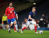 23rd March 2018, Hampden Park, Glasgow, Scotland; International Football Friendly, Scotland versus Costa Rica; Matt Ritchie of Scotland goes past Bryan Ruiz of Costa Rica