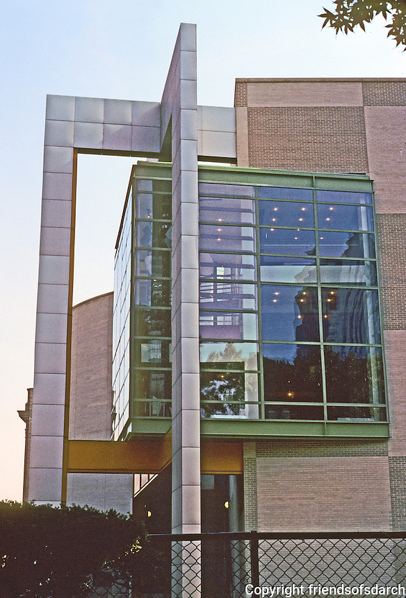 "Philadelphia: Franklin Institute's Mandell Futures Center, 1990. Bay window, western end. Note that the ""projecting window & struts are angled slightly"", a la Peter Eisenman.  Progressive Arch., Sept. '90.  Photo '91."