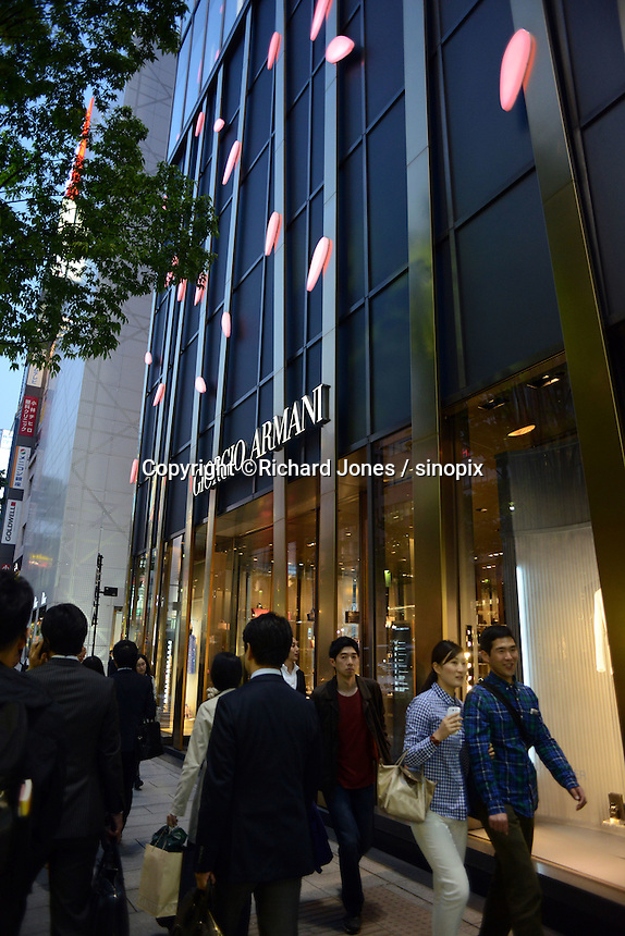 Giorgio Armani in the up-market shopping district,  Ginza, Tokyo, Japan.<br /> April-2014
