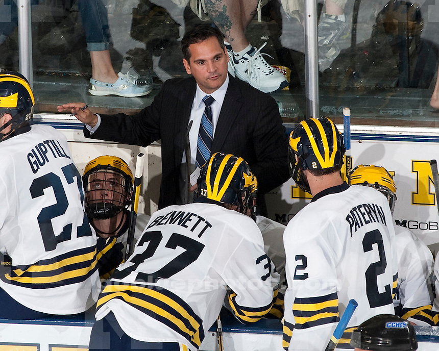 The University of Michigan ice hockey team beat Bentley at Yost Ice Arena in Ann Arbor, Mich., on October 7, 2011.