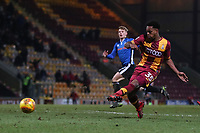 Tyrell Robinson of Bradford City scores to make it 4-3 during the Sky Bet League 1 match between Bradford City and Rochdale at the Northern Commercial Stadium, Bradford, England on 9 December 2017. Photo by Thomas Gadd.