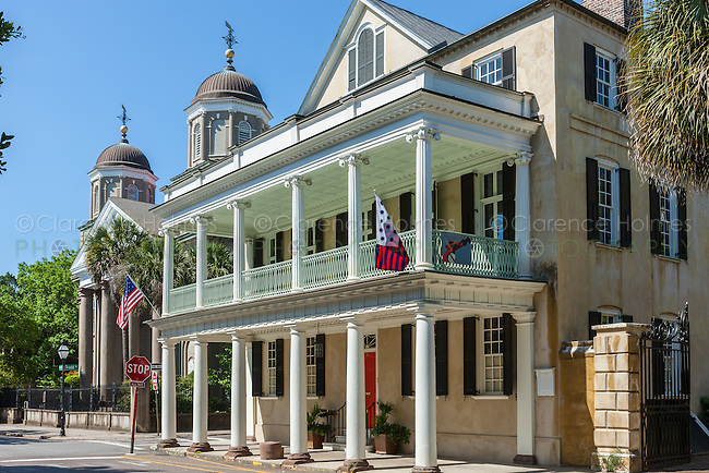 The historic antebellum Branford-Horry House on Meeting Street in Charleston, South Carolina.