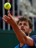 Paris, France, 23 june, 2016, Tennis, Roland Garros, Robin Haase (NED) serving a Roland Garros ball<br /> Photo: Henk Koster/tennisimages.com