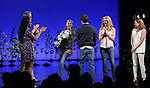Kristolyn Lloyd, Michael Park, Laura Dreyfuss, Rachel Bay Jones, Jennifer Laura Thompson with Taylor Trensch takes his bows as the newest Evan in 'Dear Evan Hansen' on Broadway at the Music Box Theatre on February 6, 2018 in New York City.