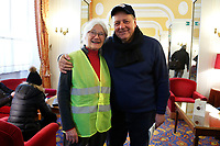 Patricia Saint-Georges, representative of French Yellow Jackets movement, with Mariano Ferro, representative of Italian movement 'Forconi'<br /> Rome January 12th 2019. The representatives of French movement 'Yellow Jackets' meet the representatives of Italian movement 'Forconi'<br /> Foto Samantha Zucchi Insidefoto