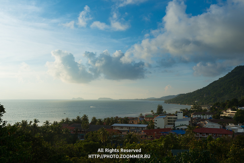 Aerial view of Phangan island and beach at sunset, Thailand