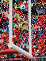 Ohio State Buckeyes fans stand in the rain during the first quarter of the NCAA football game against the Rutgers Scarlet Knights at Ohio Stadium in Columbus on Sept. 8, 2018. [Adam Cairns / Dispatch]