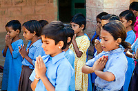 Children in elementary school uniform, Rinawey Upper Primary School, Rajasthan India.  students age 6 thru 8