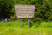 Jefferson Notch Road in Thompson and Meserves Purchase, New Hampshire USA during the spring months. This is the highest elevation reached by a public highway in New Hampshire.