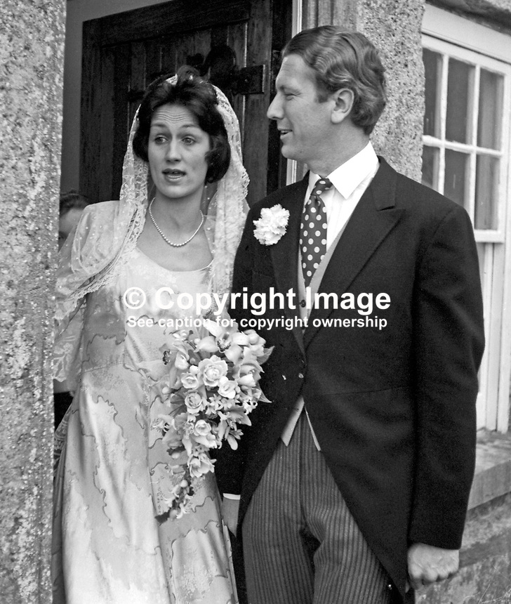Major Nigel Cowie and his bride, Miss Juliana Brooke, after their wedding in Co Fermanagh, N Ireland, UK, 197303020123h. Juliana is the daughter of Captain John Brooke and Mrs Brooke, and the granddaughter of the 1st Viscount Brookeborough, a former prime minister of N Ireland.<br />