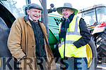Danny Mac Gearailt and Michéal Ó Morain at the start of the Tractor Run in Lispole on Sunday afternoon.