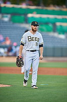 Jared Walsh (18) of the Salt Lake Bees during the game against the Round Rock Express at Smith's Ballpark on June 10, 2019 in Salt Lake City, Utah. The Bees defeated the Express 9-7. (Stephen Smith/Four Seam Images)