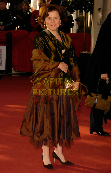 IMELDA STAUNTON.The South Bank Show Awards, Savoy Hotel, London, UK..January 23rd, 2007.full length brown satin wrap dress skirt top gold.CAP/CAN.©Can Nguyen/Capital Pictures