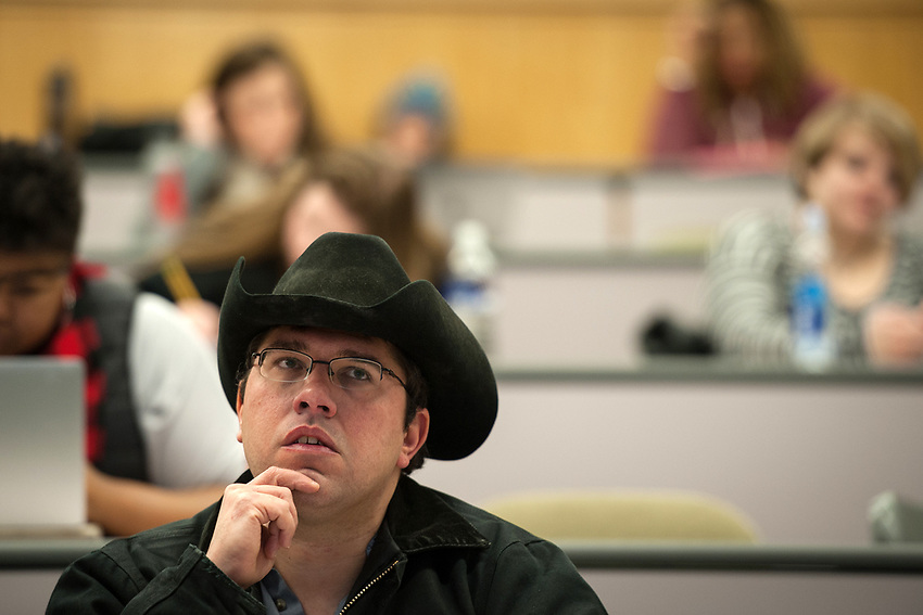 Student Scott Kotulak thinks about a question posed by Professor John Petraitis, Associate Dean for Social Sciences, during Statistics for Psychology (PSY A260) in UAA's Social Sciences Building.