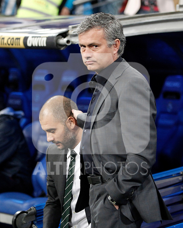 Real Madrid's coach Jose Mourinho and Barcelona's coach Pep Guardiola during La Liga Match. April 16, 2011. (ALTERPHOTOS/Alvaro Hernandez)