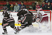 Garnet Hathaway (Brown - 23), Jake Goldberg (Brown - 7), Tyler Steel (Brown - 35), Kyle Criscuolo (Harvard - 11) - The visiting Brown University Bears defeated the Harvard University Crimson 2-0 on Saturday, February 22, 2014 at the Bright-Landry Hockey Center in Cambridge, Massachusetts.