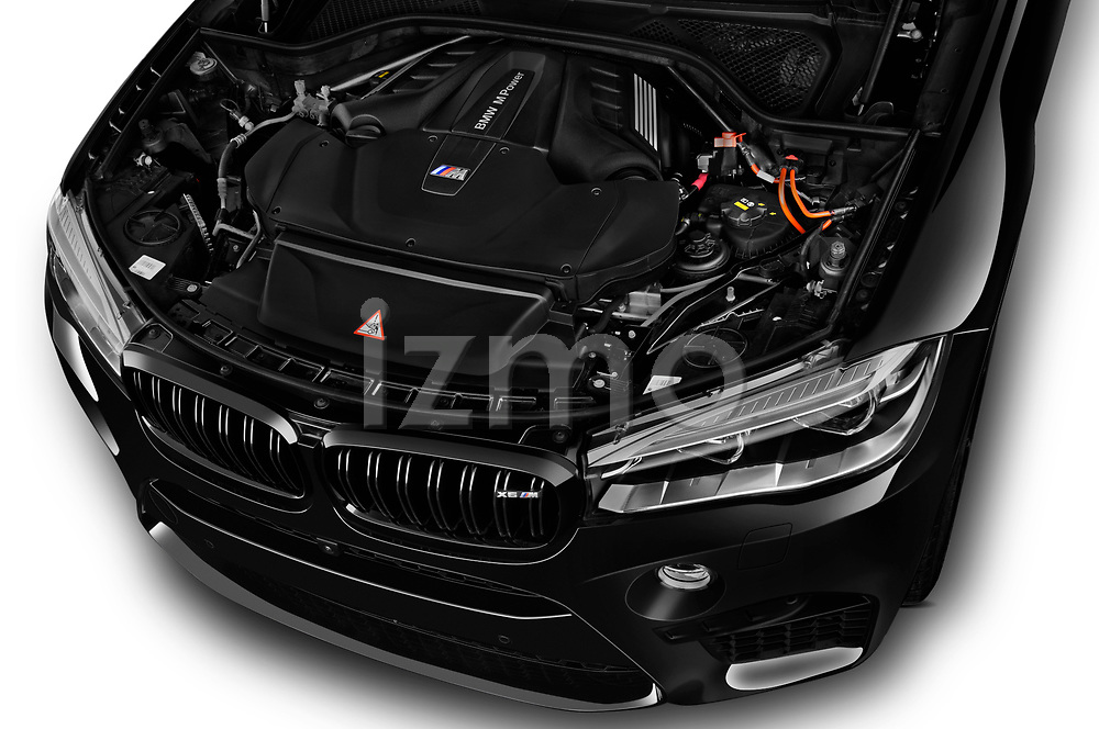 2018 BMW X6M Black Fire 5 Door SUV engine high angle detail view