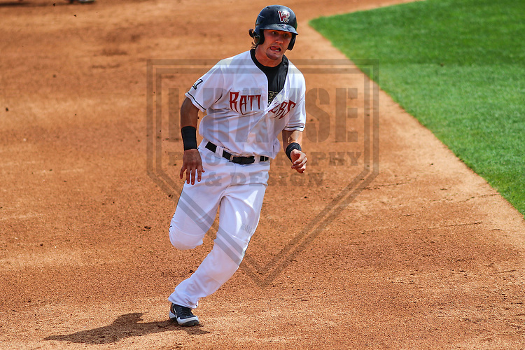 APPLETON - August 2014: Clint Coulter (15) of the Wisconsin Timber Rattlers during a game against the Beloit Snappers on August 26th, 2014 at Fox Cities Stadium in Appleton, Wisconsin.  (Photo Credit: Brad Krause)
